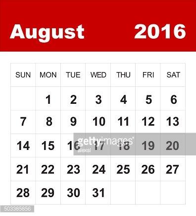 August 2016 Calendar premium clipart.