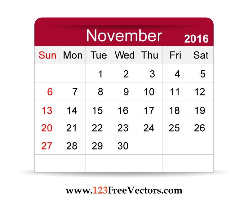 48+ November Calendar Clipart.