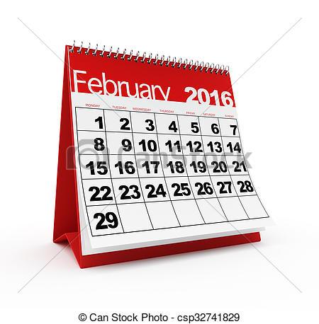 February 2016 calendar.