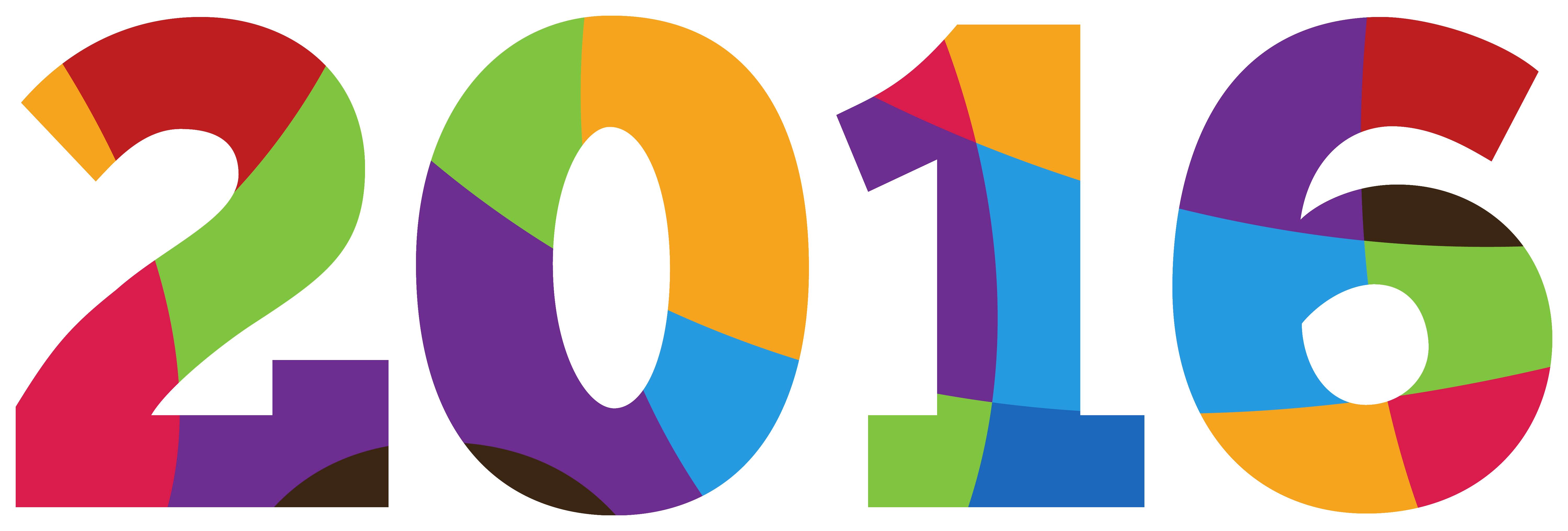 Colorful 2016 PNG Clipart Image.