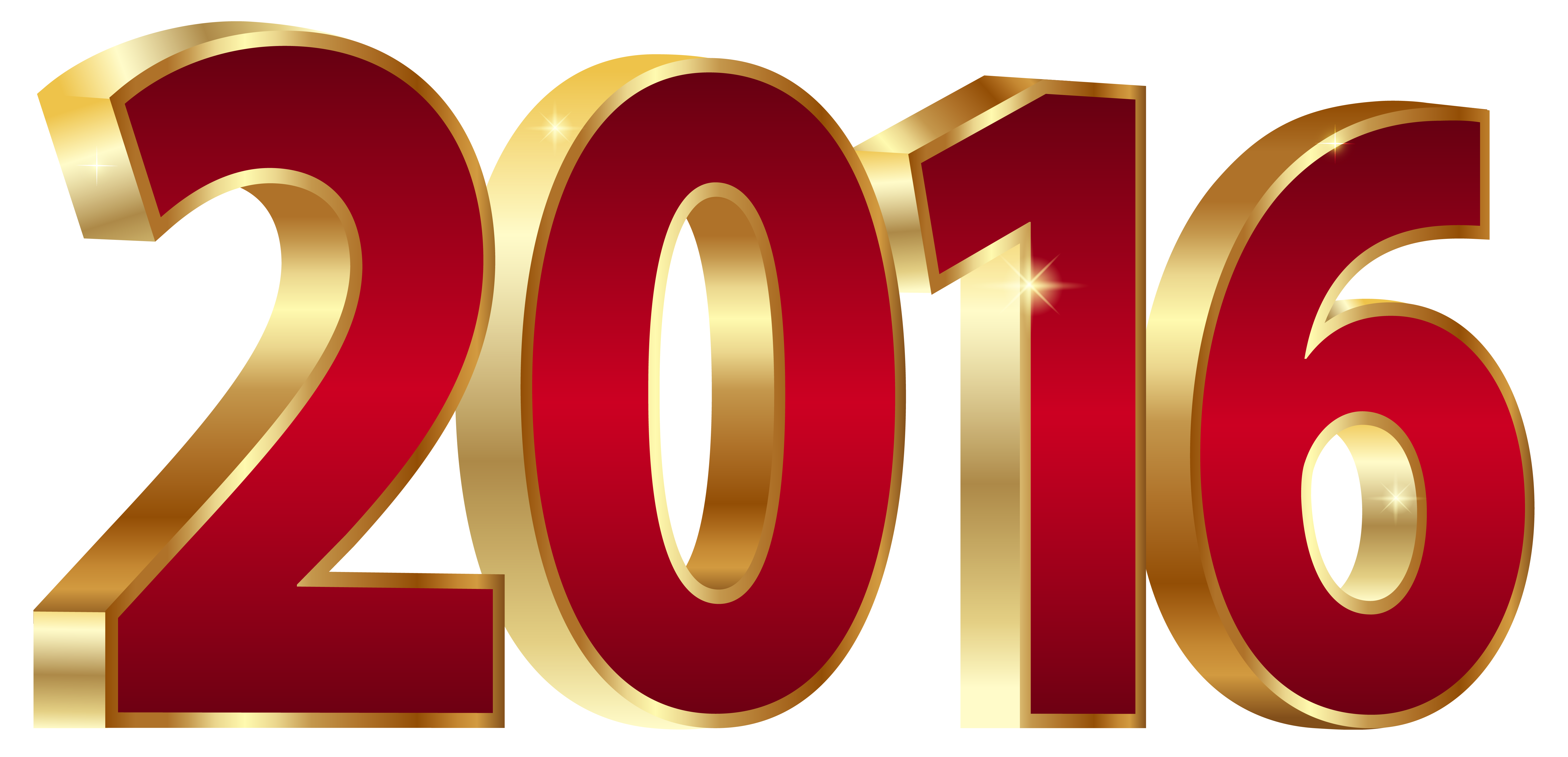 2016 Gold and Red PNG Clipart Image.