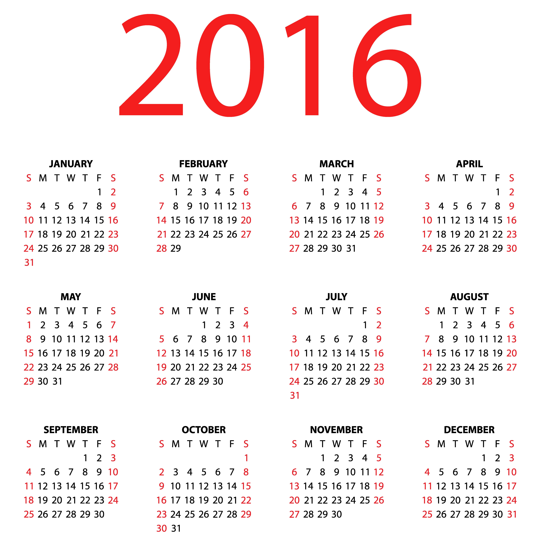 Transparent Calendar for 2016 PNG Clipart Image.