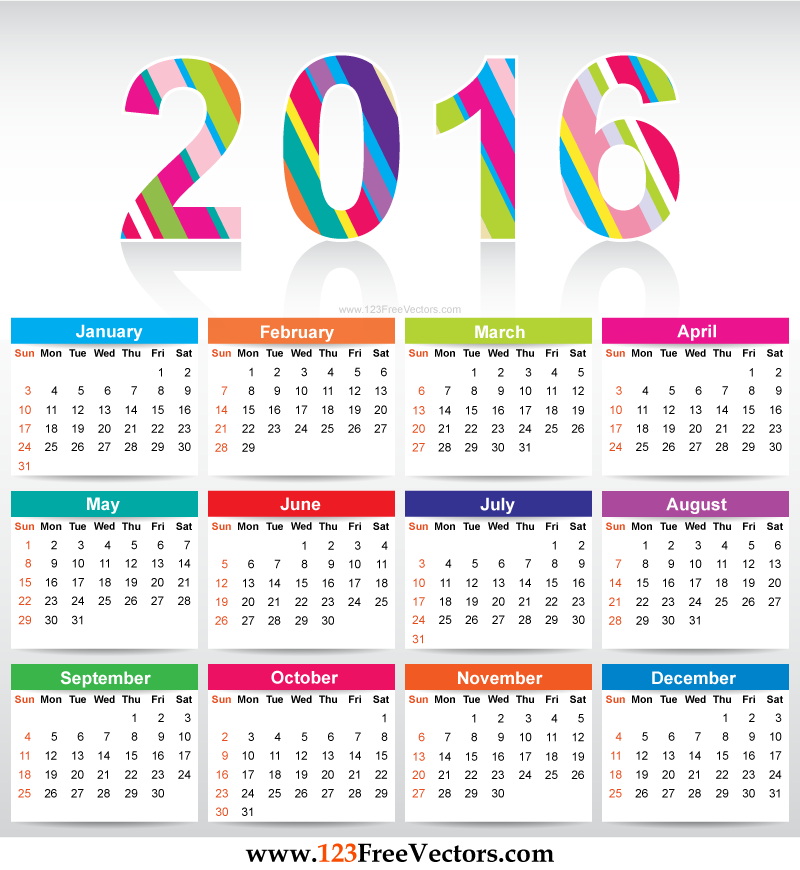 Free clipart calendar 2016 2 » Clipart Station.