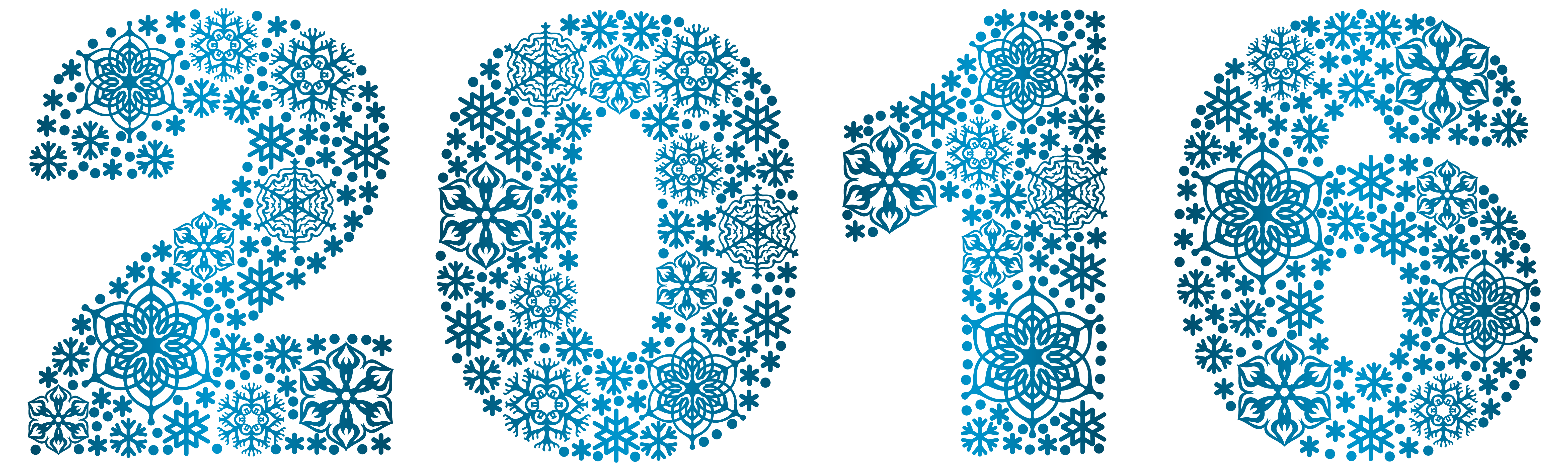 2016 Snowflakes Style PNG Clipart Image.