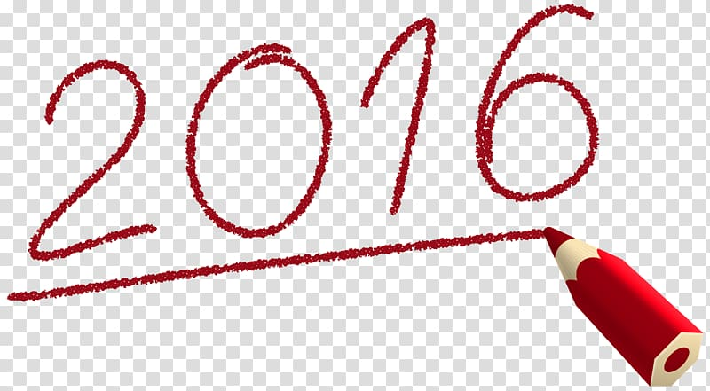2016 handwriting, Icon , Deco 2016 with Pencil transparent.