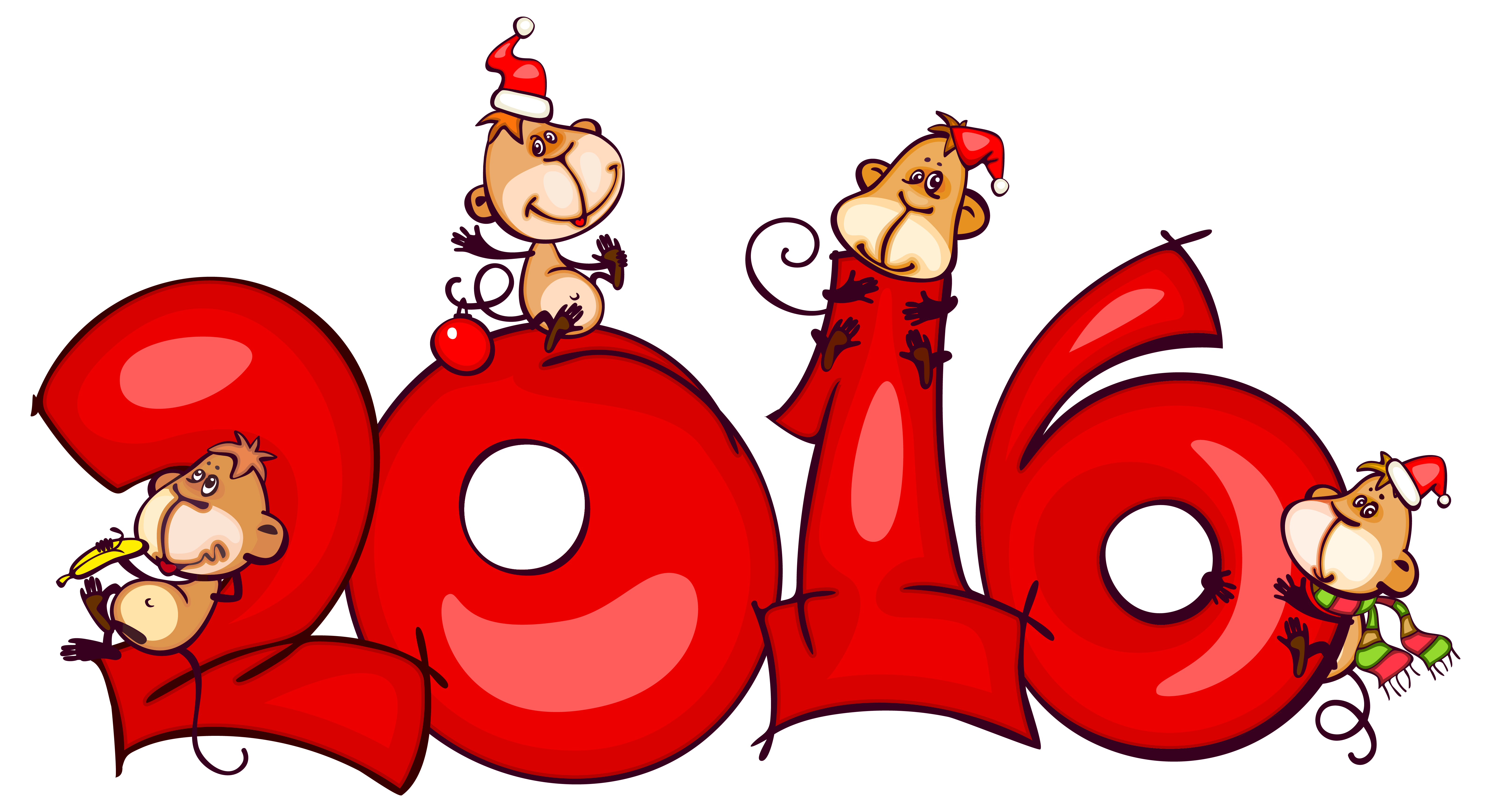 2016 with Monkeys PNG Clipart Image.