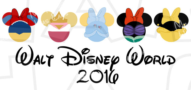 Minnie Mouse dressed Disney Princesses heads ears 2016 INSTANT.