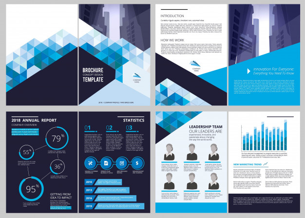 Annual report template. simple document financial magazine.