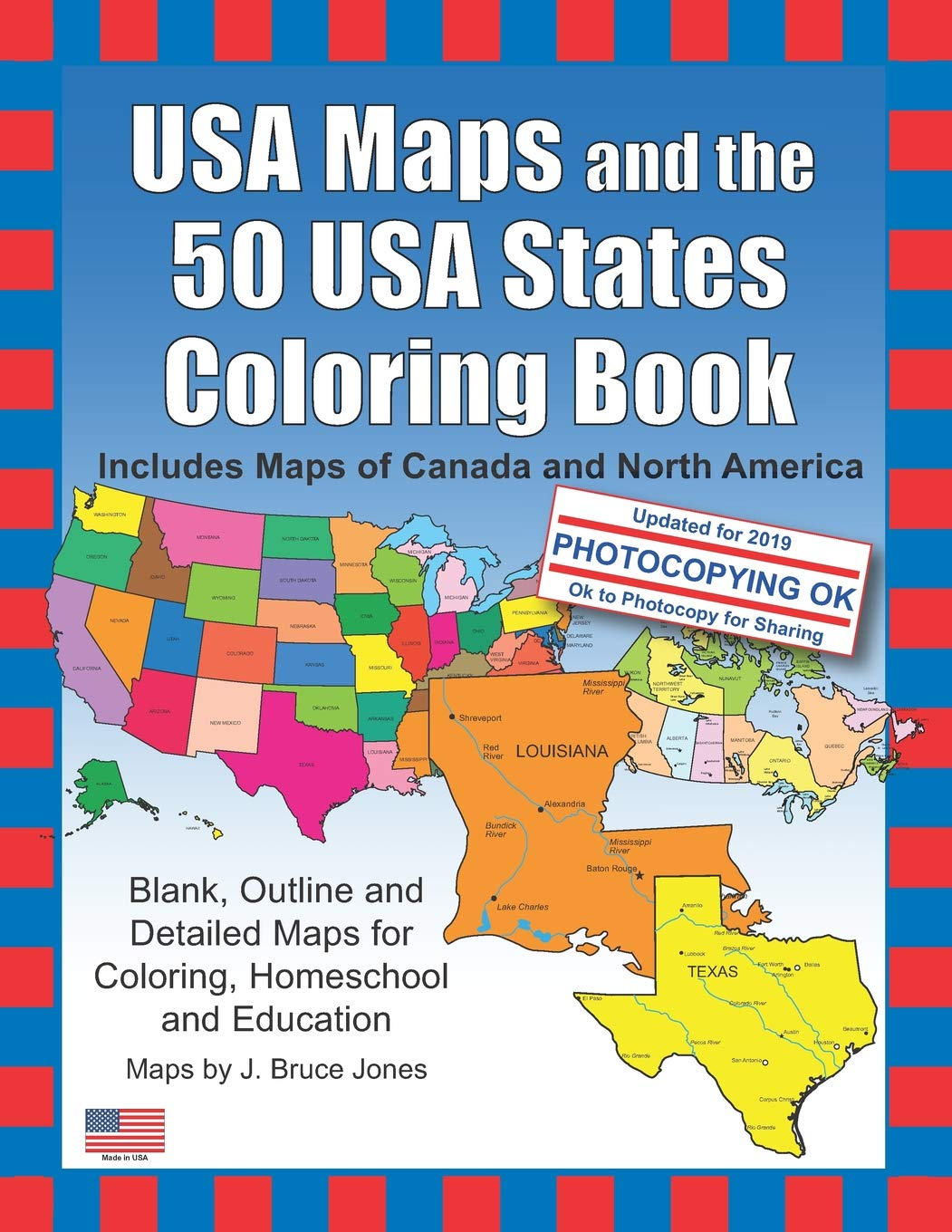 Amazon.com: USA Maps and the 50 USA States Coloring Book: Includes.