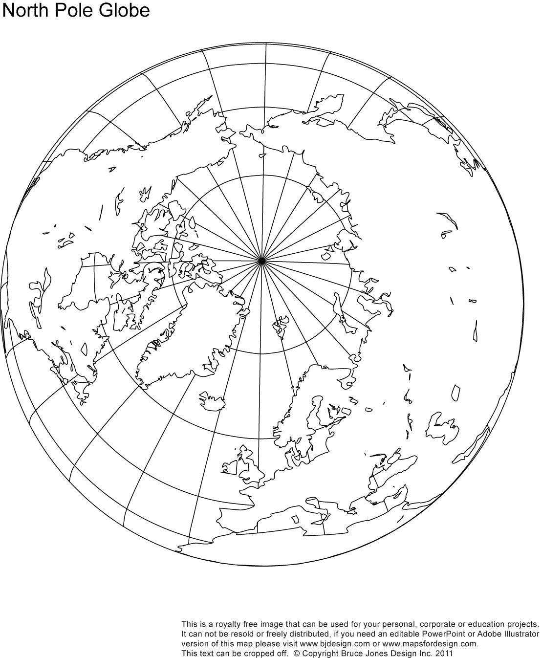 North Pole Globe Map, royalty free.