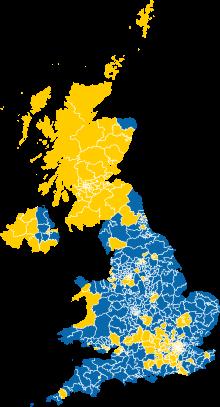 Results of the 2016 United Kingdom European Union membership.