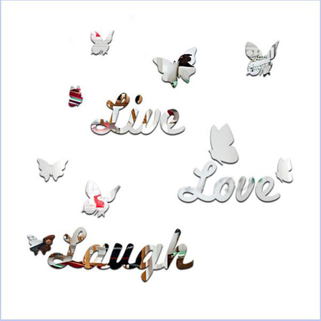 16pcs/Set 3D Mirror Effect Butterfly Live Love Laugh Wall Sticker Decal  Mural Home Living Room Office DIY Art Decor 2016 New.