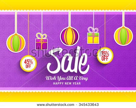 Happy New Year 2016 Sale Banner Stock Vector 345433643.