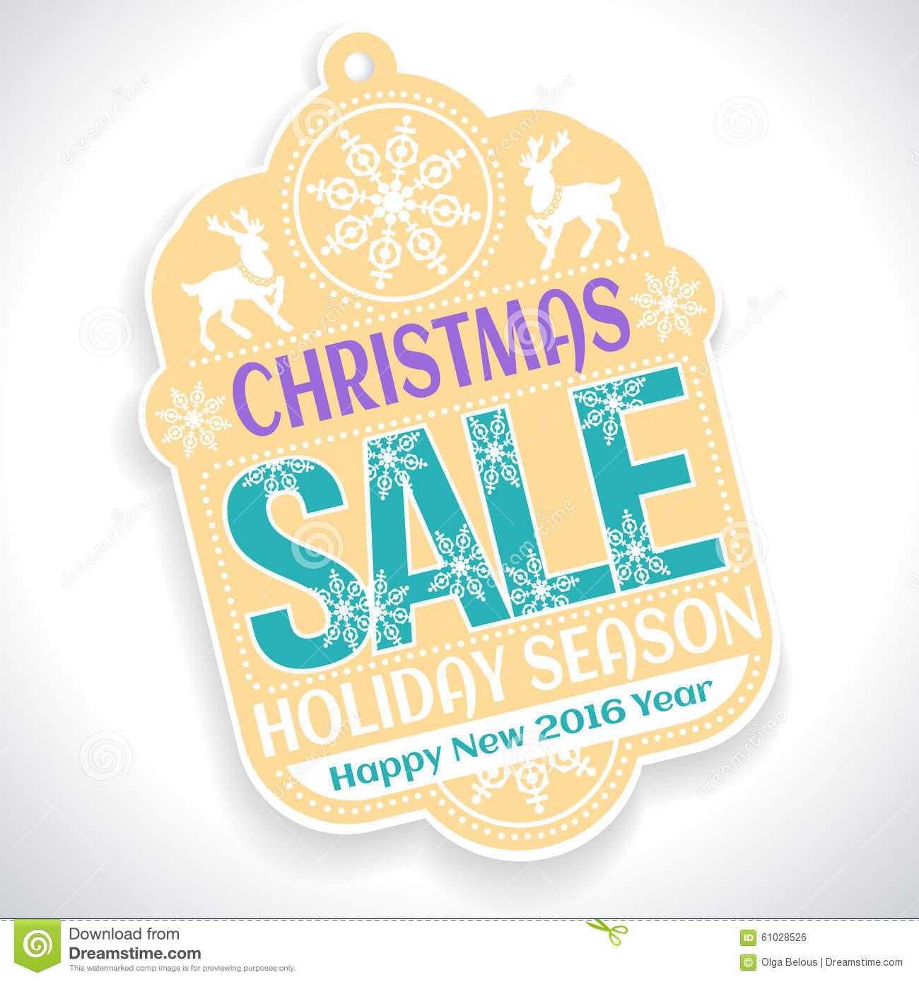 Christmas SALE Holiday Season And Happy New 2016 Stock Vector.