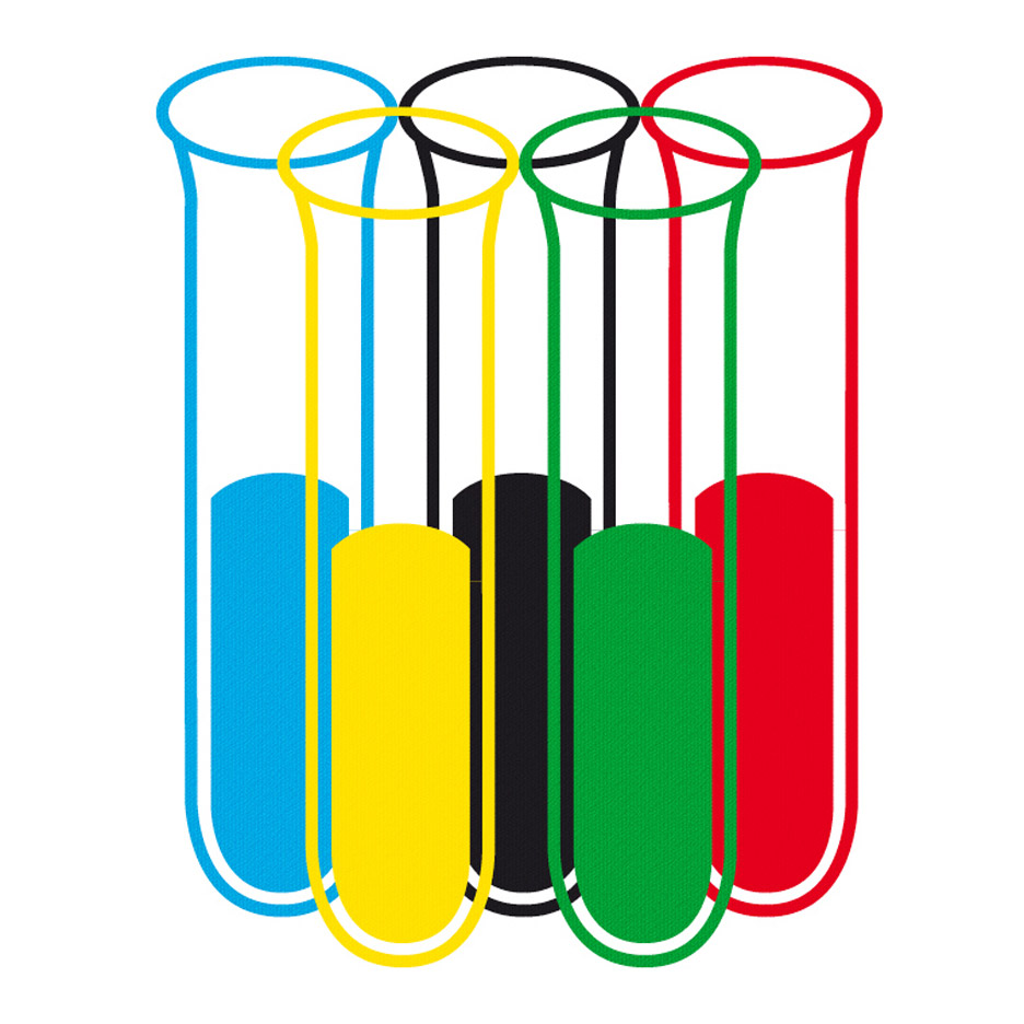 Alternative Olympics logo designed in light of doping scandal.