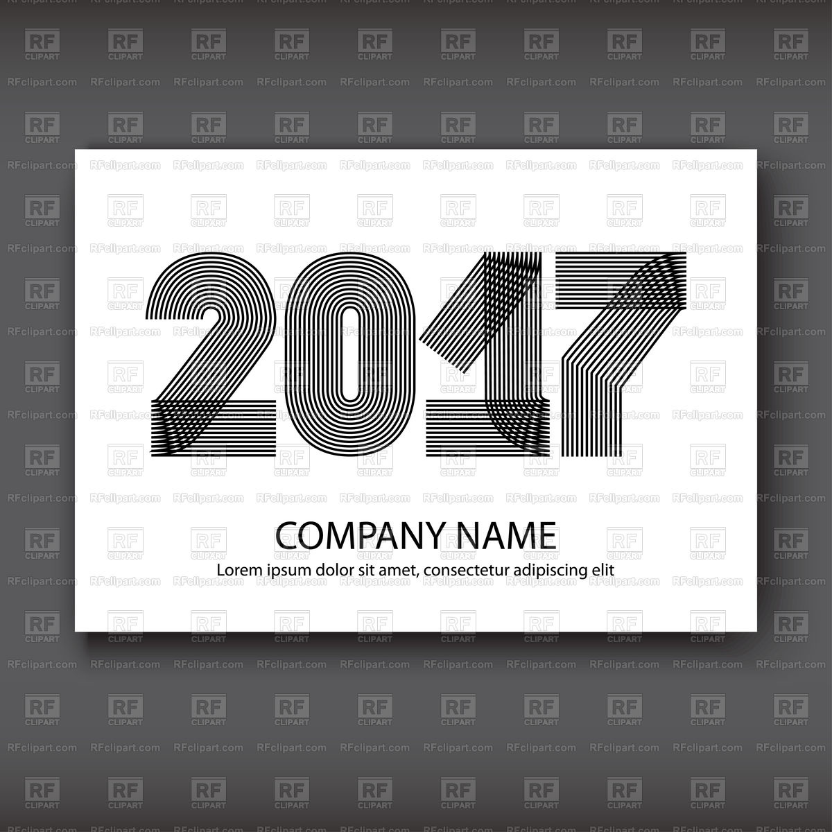 Cover of calendar 2017, black striped numbers on black background Stock  Vector Image.