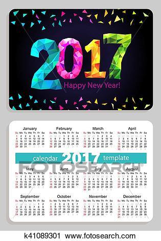 Pocket calendar 2017 black background Clipart.