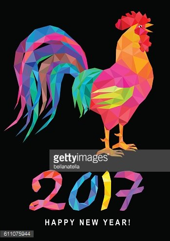 Low poly colorful rooster and lettering 2017 on black.