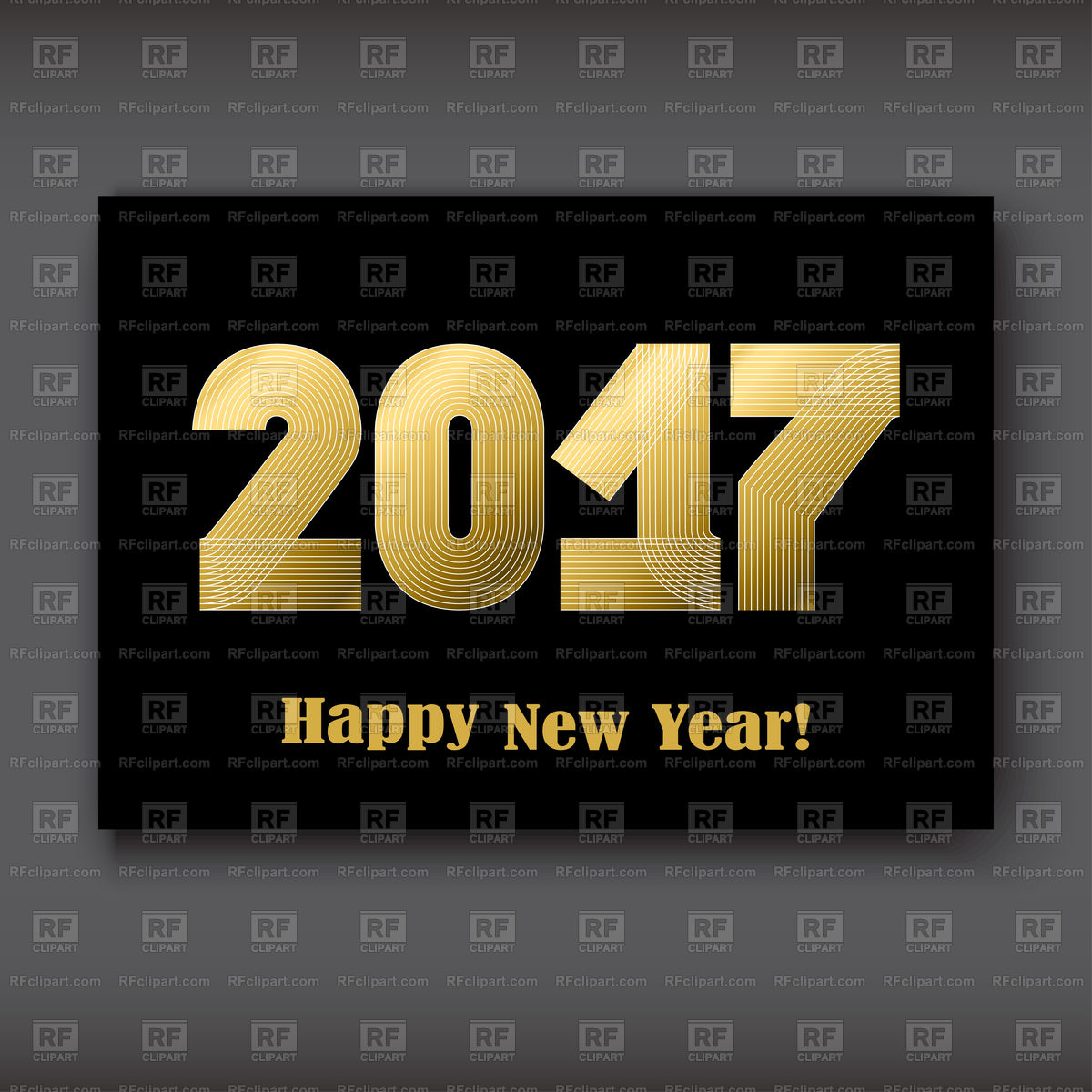 Happy New 2017 Year, striped golden numbers on black background , year 2017  in thin lines striped minimalist, numbers written with a pen, vector.
