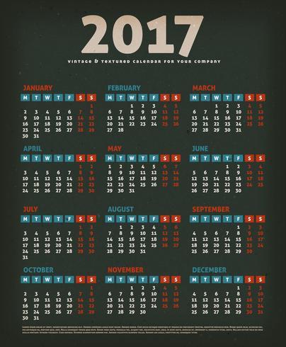 2017 Design Calendar On Black Background.