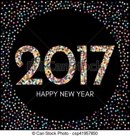 Happy New Year 2017 label with colorful confetti on black background.