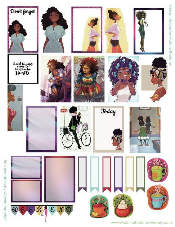 African American gal printable for regular happy planner I.