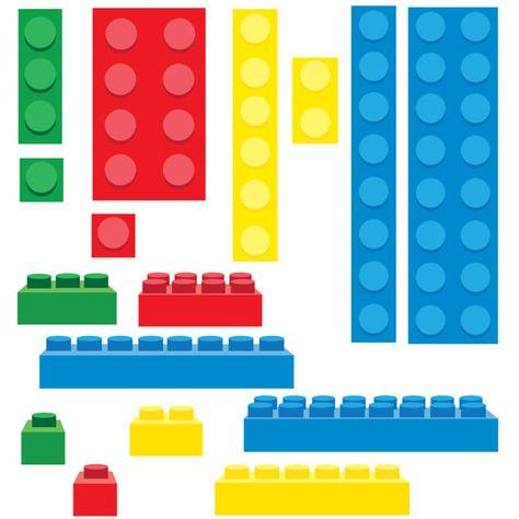 Lego Inspired Building Blocks Clip Art.