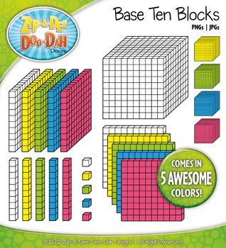 Rainbow Base Ten Blocks Clipart Set {Zip.