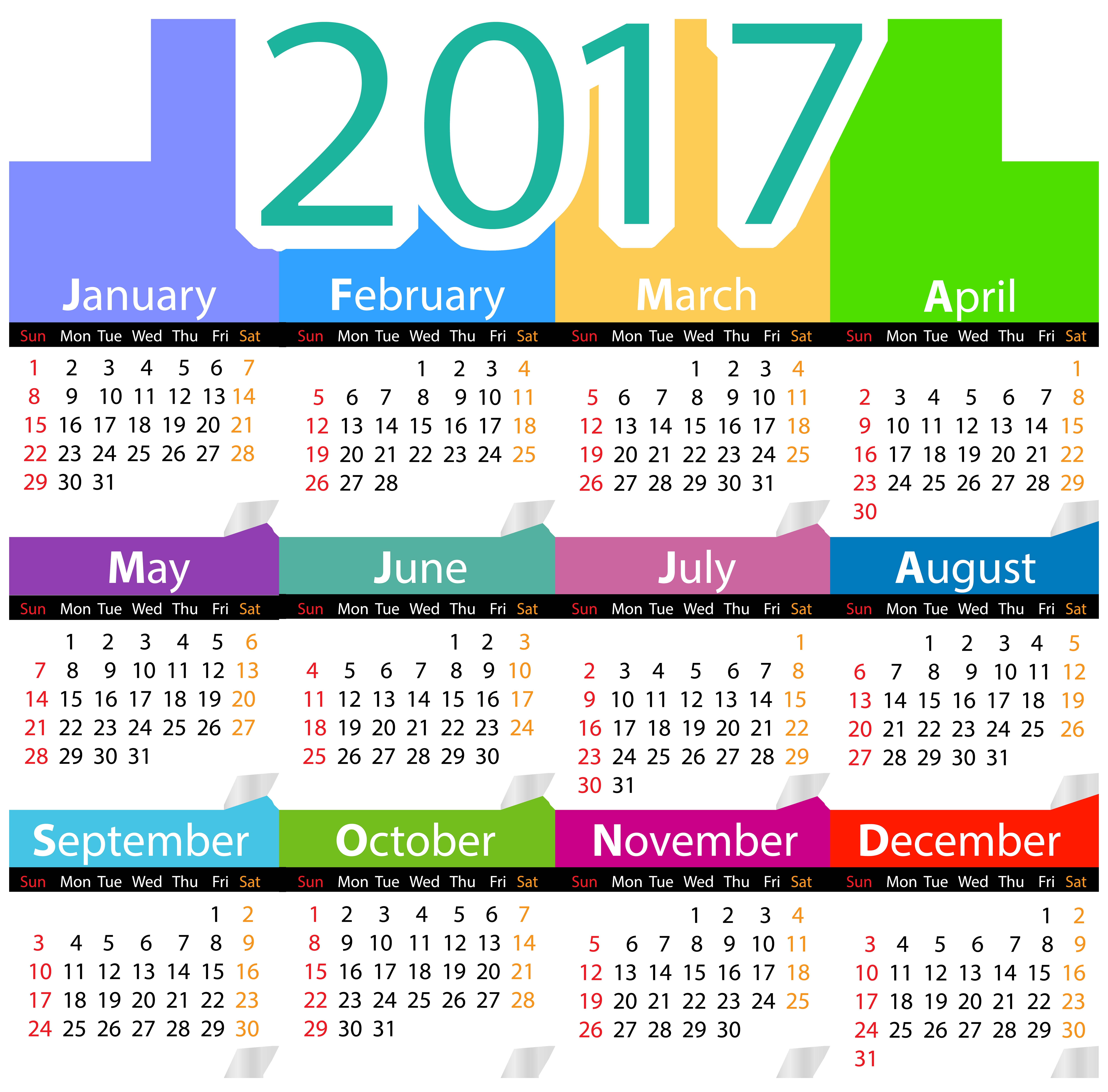 2017 Calendar PNG Clip Art Image.
