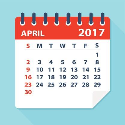 April 2017 calendar.