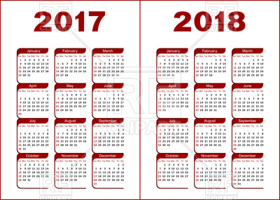 Calendar for 2017 and 2018 Vector Image.