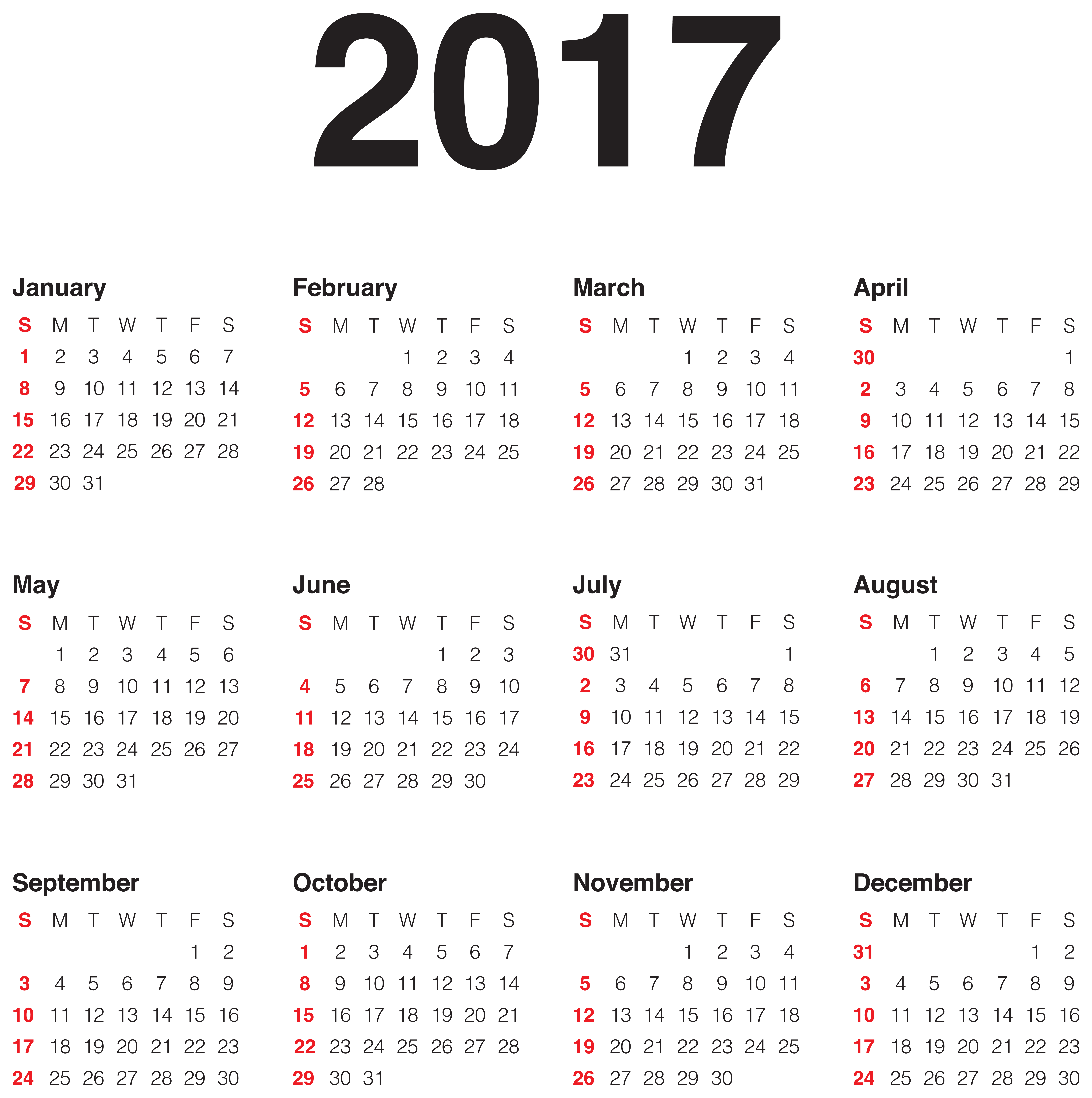 2017 Calendar Transparent PNG Clip Art Image.