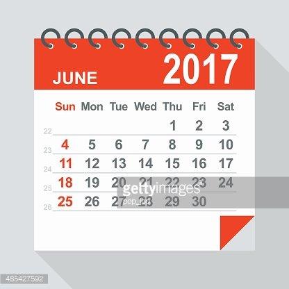 June 2017 Calendar Illustration premium clipart.