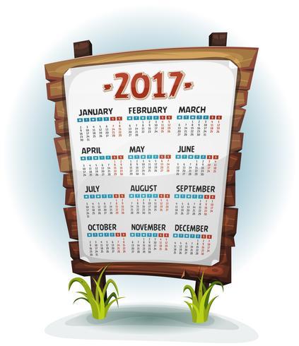 2017 Calendar On Wood Sign.
