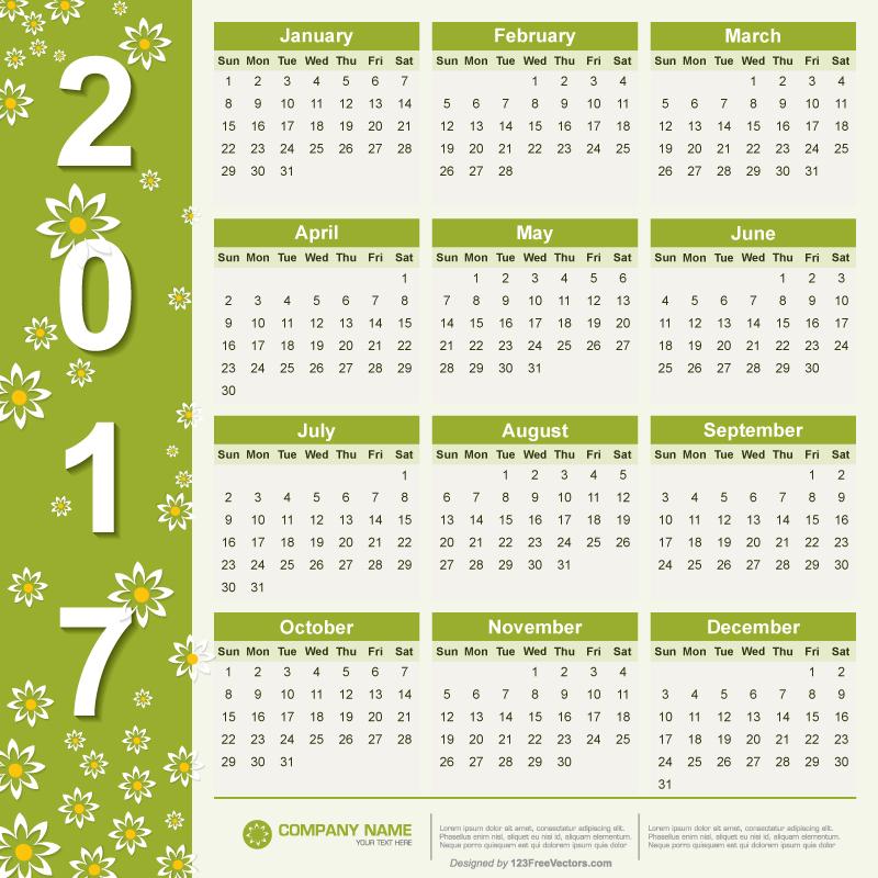 Free Vector 2017 Calendar.