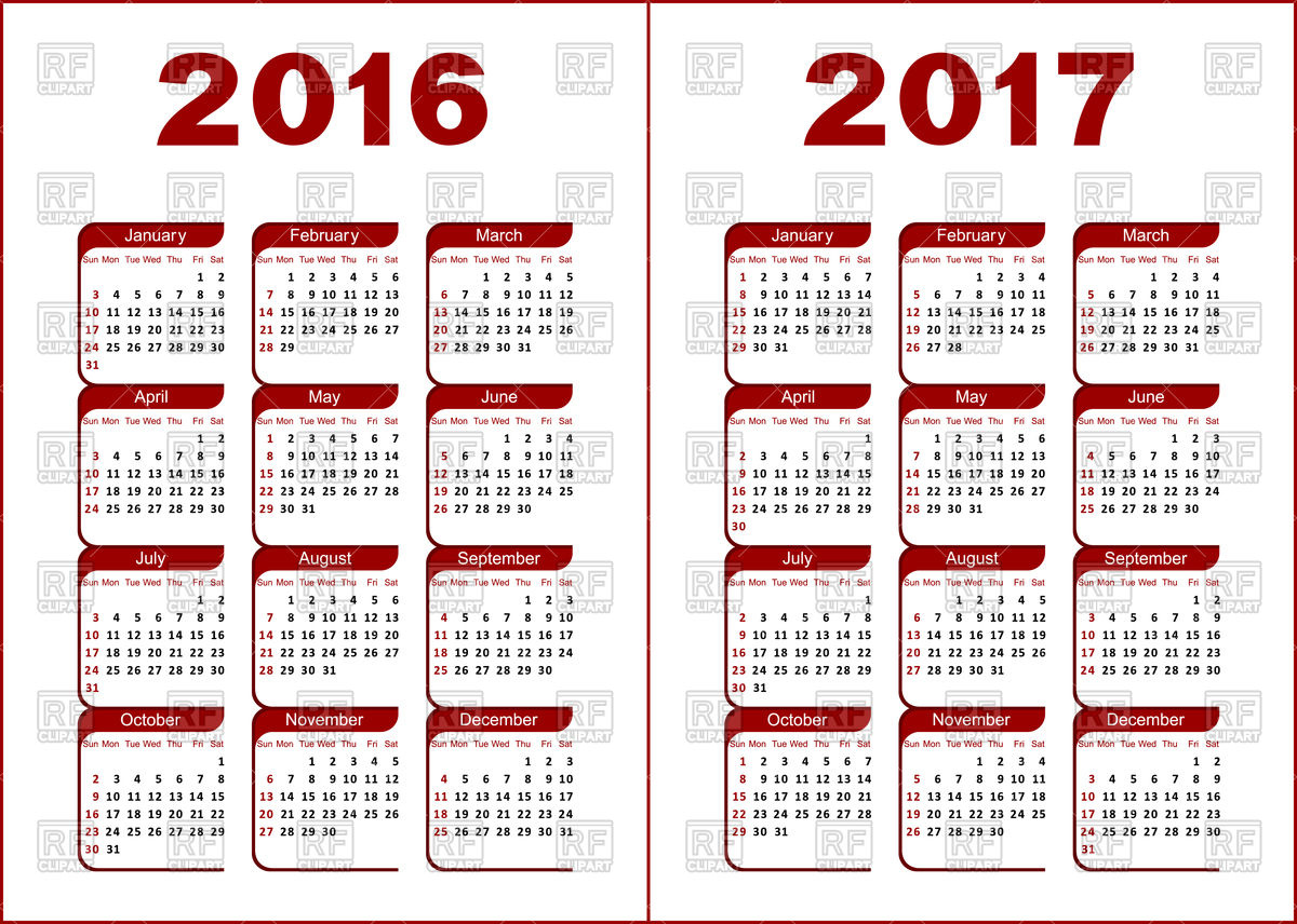 Free Calendar Clipart 2016.