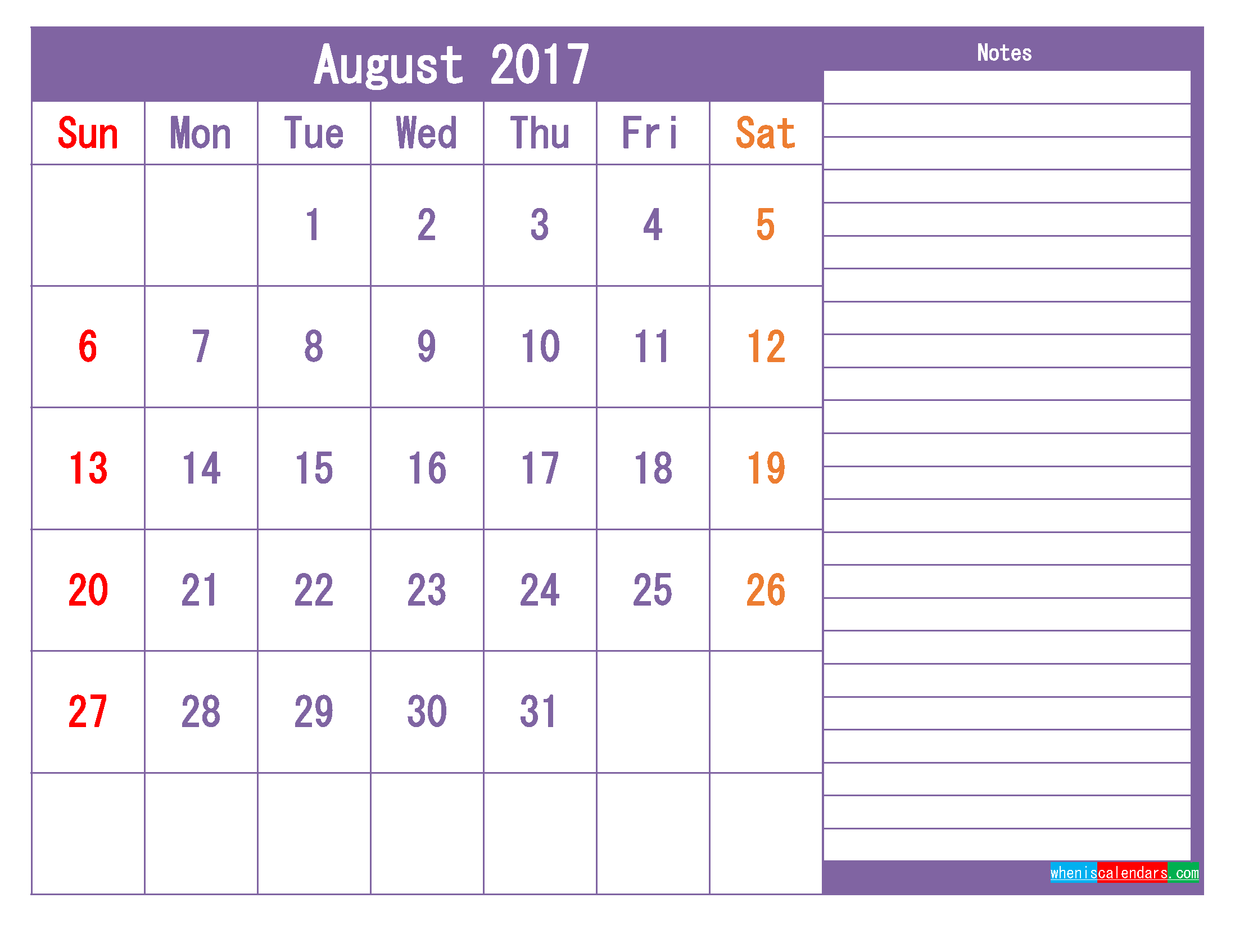 Printable 2017 Calendar Templates August ( PDF, PNG ).