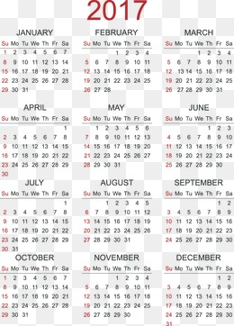 2017 Calendar Png, Vector, PSD, and Clipart With Transparent.