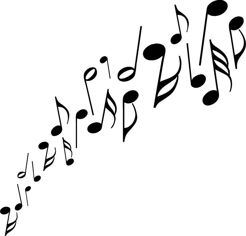 Music notes black and white music free clipart.