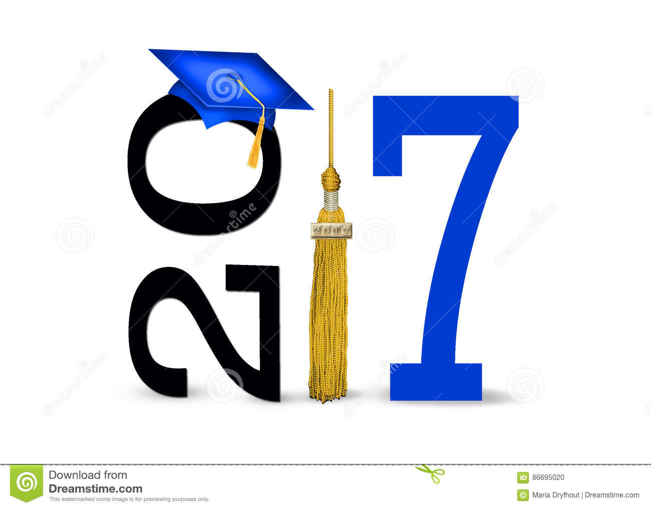 Blue Graduation Cap For 2017 Stock Illustration.