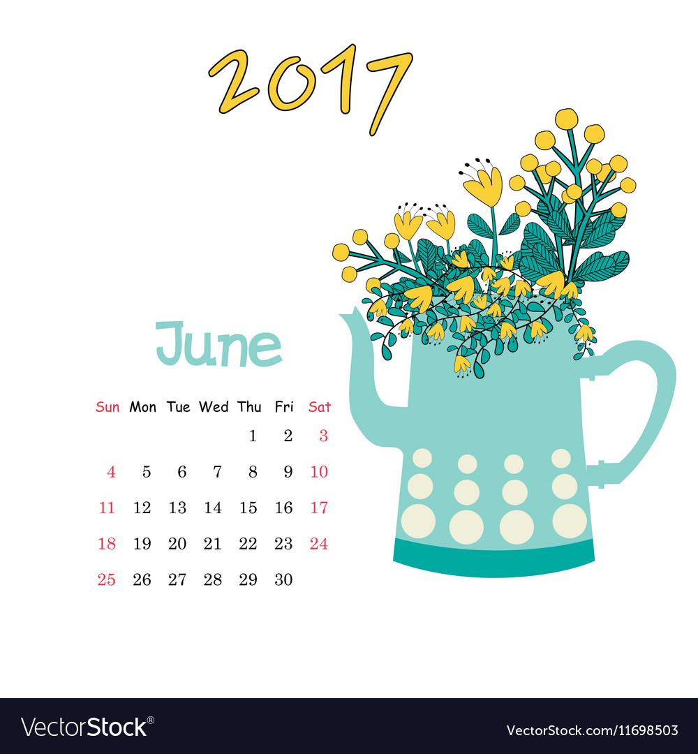 Calendar June 2017 Template Week starts.