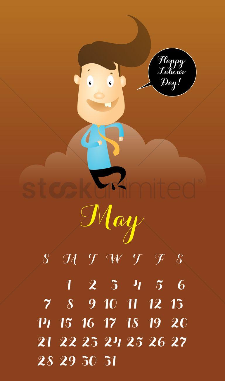 May 2017 character calendar Vector Image.
