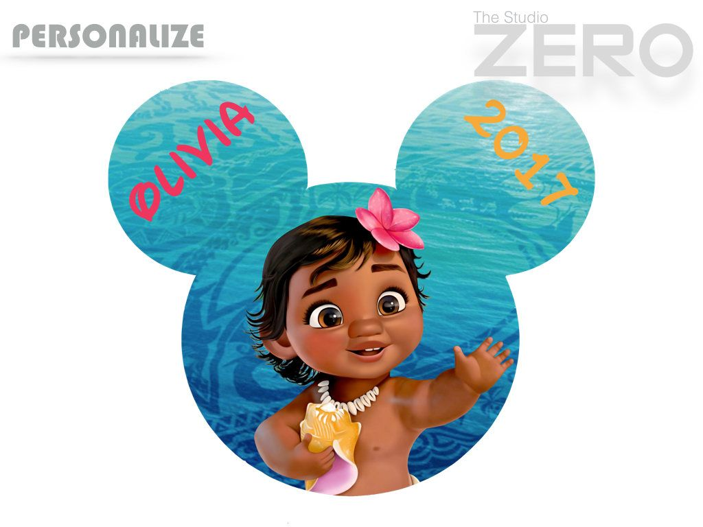 Baby Moana Clipart, Personalize, Mickey Head, Moana Iron On.