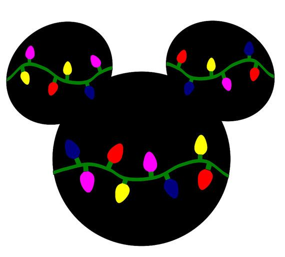 SVG DXF File for Mickey Mouse with Christmas Lights.