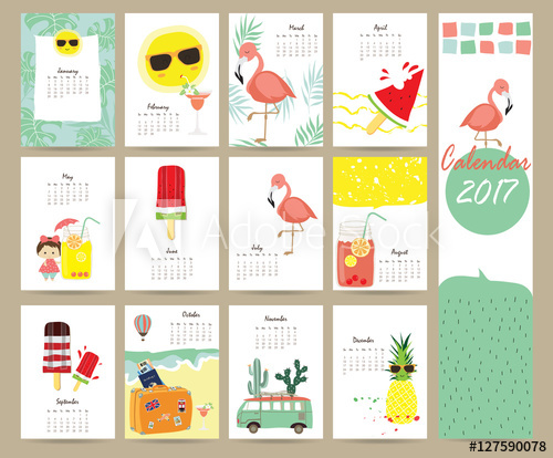 Colorful cute monthly calendar 2017 with Flamingo,ice cream.