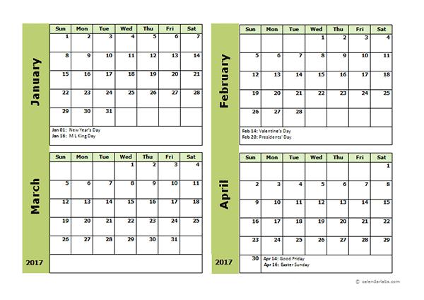 2015 4 month calendar.