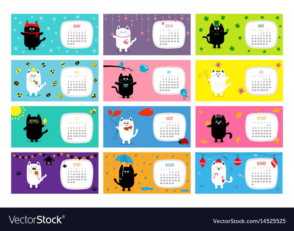 Cat horizontal monthly calendar 2017.