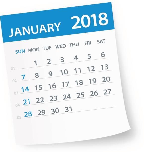 Best January 2018 Calendar Illustrations, Royalty.