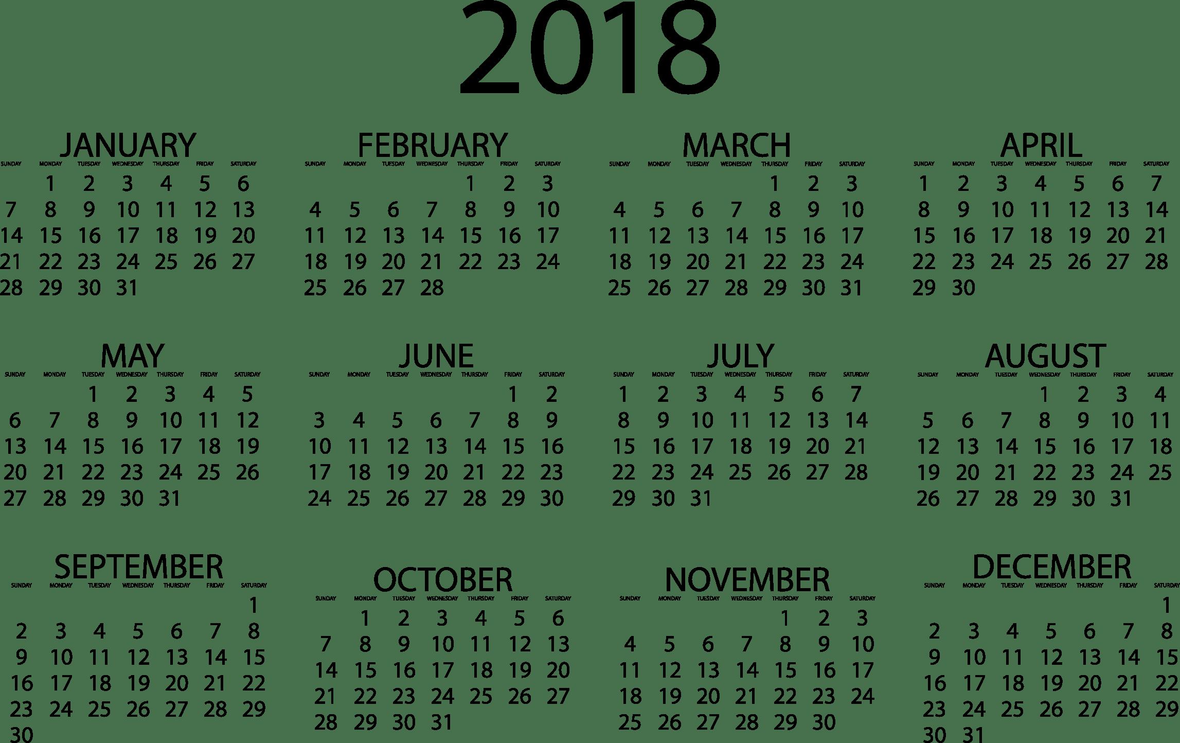 2018 calendar clipart » Clipart Portal.