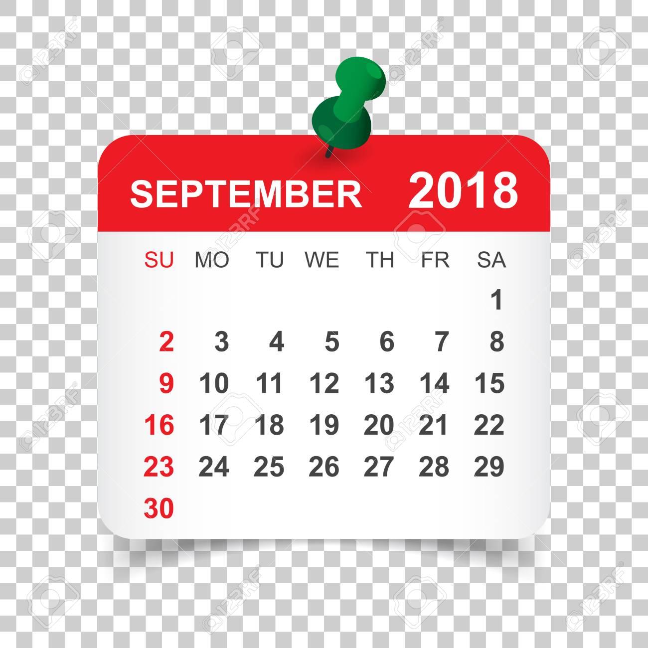 September 2018 calendar. Calendar sticker design template. Week...